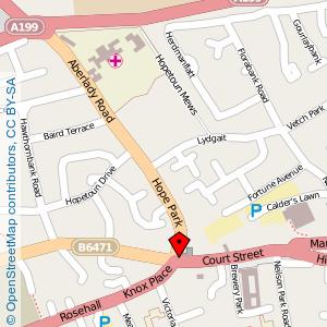 Map: Railway Hotel, Haddington
