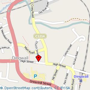 Map: Town Hall, Dingwall