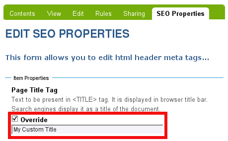 Plone SEO Page Title Tag Override